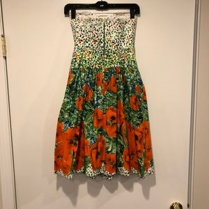 Milly floral strapless dress